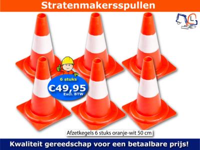 Afzetkegel - Verkeerspion oranje-wit 50 cm 6 stuks