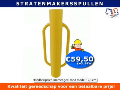 Handhei/palenrammer geel rondmodel 12,3 cm