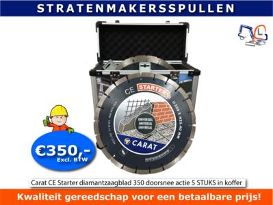 Carat CE Starter diamantzaagblad 350 doorsnee actie 5 STUKS in koffer voor motordoorslijper
